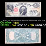1917 $1 Large Size Legal Tender, Signatures of Spellman & White, FR39  Grades vf++