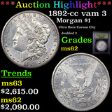 ***Auction Highlight*** 1892-cc vam 3 Morgan Dollar $1 Graded Select Unc By USCG (fc)