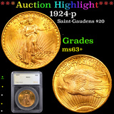 ***Auction Highlight*** 1924-p Saint-Gaudens $20 Gold Double Eagle Graded ms63+ By SEGS (fc)