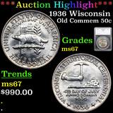 ***Auction Highlight*** 1936 Wisconsin Old Commem Half Dollar 50c Graded ms67 By SEGS (fc)