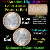 ***Auction Highlight*** AU/BU Slider Shotgun Nevada Invest & Trust Co Peace $1 Roll 1926 & P Ends Vi