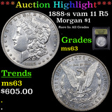 ***Auction Highlight*** 1888-s vam 11 R5 Morgan Dollar $1 Graded Select Unc By USCG (fc)