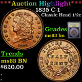 ***Auction Highlight*** 1835 C-1 Classic Head half cent 1/2c Graded Select Unc BN By USCG (fc)