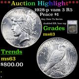 ***Auction Highlight*** 1928-p vam 3 I2 R5 Peace Dollar $1 Graded ms63 By SEGS (fc)