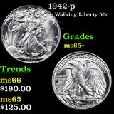 1942-p Walking Liberty Half Dollar 50c Graded GEM+ Unc