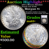 ***Auction Highlight*** 1884-o Mosnter Rainbow Toned vam 43 R5 Morgan Dollar $1 Graded ms63+ By SEGS