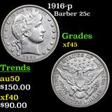 1916-p Barber Quarter 25c Graded xf+