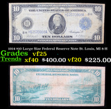 1914 $10 Large Size Federal Reserve Note St. Louis, MI 8-H Grades vf+