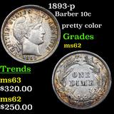1893-p Barber Dime 10c Graded Select Unc