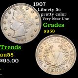 1907 Liberty Nickel 5c Graded Choice AU/BU Slider