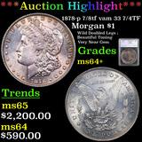 ***Auction Highlight*** 1878-p 7/8tf vam 33 7/4TF Morgan Dollar $1 Graded ms64+ By SEGS (fc)
