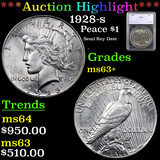 ***Auction Highlight*** 1928-s Peace Dollar $1 Graded ms63+ By SEGS (fc)