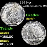 1939-p Walking Liberty Half Dollar 50c Graded GEM+ Unc