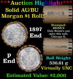 ***Auction Highlight***  AU/BU Slider Brinks Shotgun Morgan $1 Roll 1897 & P Ends Virtually UNC (fc)