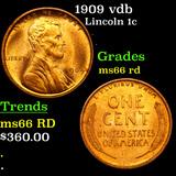 1909 vdb Lincoln Cent 1c Graded GEM+ Unc RD