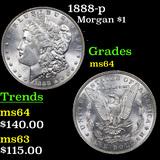 1888-p Morgan Dollar $1 Graded Choice Unc
