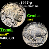 1937-p Buffalo Nickel 5c Graded GEM++ Unc