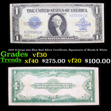 1923 $1 large size Blue Seal Silver Certificate, Signatures of Woods & White Grades vf++