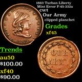 1863 Turban Liberty Mint Error F-45-332a Civil War Token 1c Graded xf+