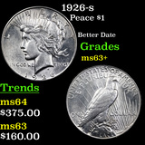 1926-s Peace Dollar $1 Graded Select+ Unc