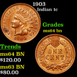 1903 Indian Cent 1c Graded Choice Unc BN