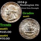 1934-p Washington Quarter 25c Graded GEM Unc