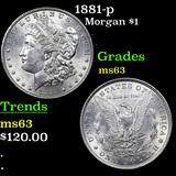 1881-p Morgan Dollar $1 Graded Select Unc