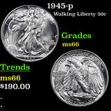 1945-p Walking Liberty Half Dollar 50c Graded GEM+ Unc