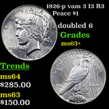1926-p vam 3 I3 R3 Peace Dollar $1 Graded Select+ Unc