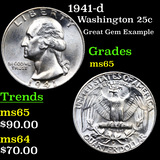 1941-d Washington Quarter 25c Graded GEM Unc