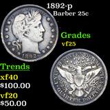 1892-p Barber Quarter 25c Graded vf+