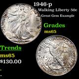 1946-p Walking Liberty Half Dollar 50c Graded GEM Unc