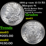 1891-p vam 13 I3 R5 Morgan Dollar $1 Graded Select Unc