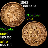 1863 Indian Cent 1c Graded xf+