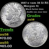 1887-o vam 38 I2 R5 Morgan Dollar $1 Graded Choice AU/BU Slider