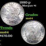 1880-p Morgan Dollar $1 Graded Choice Unc