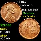 1910-s Lincoln Cent 1c Graded AU Details