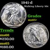 1941-d Walking Liberty Half Dollar 50c Graded GEM+ Unc