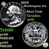 Proof 1952 Washington Quarter 25c Graded GEM+ Proof