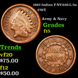1863 Indian F-NY-630-L-5a Civil War Token 1c Graded f+