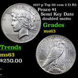 1927-p Top 50 vam 2 I3 R5 Peace Dollar $1 Graded Select Unc