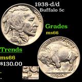1938-d/d Buffalo Nickel 5c Graded GEM+ Unc