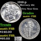 1916-p Mercury Dime 10c Graded Choice Unc+ FSB