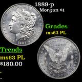 1889-p Morgan Dollar $1 Graded Select Unc PL