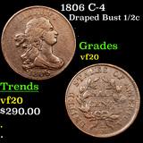 1806 C-4 Draped Bust Half Cent 1/2c Graded vf, very fine