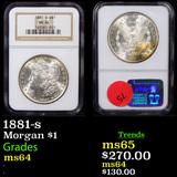 NGC 1881-s Morgan Dollar $1 Graded ms64 By NGC