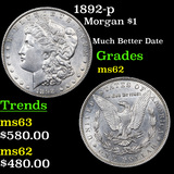 1892-p Morgan Dollar $1 Graded Select Unc