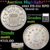 ***Auction Highlight*** 1883 FS-312 RPD Shield Nickel 5c Graded ms65 By SEGS (fc)