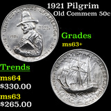 1921 Pilgrim Old Commem Half Dollar 50c Graded Select+ Unc