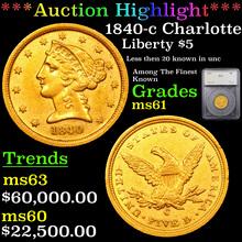1840-c Charlotte Gold Liberty Half Eagle $5 Graded